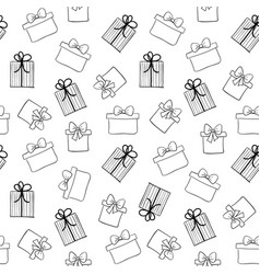 doodle gift boxes seamless pattern hand vector image