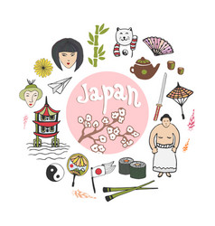 Doodle hand draw collection of japan icons vector