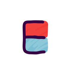 e letter logo in kids paper applique style vector image