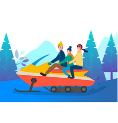 Family riding snowmobile in winter forest or wood vector