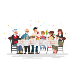 family sitting at dining table vector image