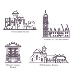 famous architecture buildings slovakia in line vector image