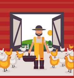Farmer in chicken barn man vector