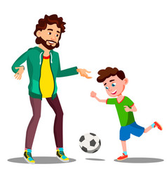 Father playing football with his little son on the vector