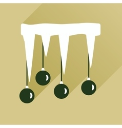 Flat icon with long shadow Christmas balls on vector
