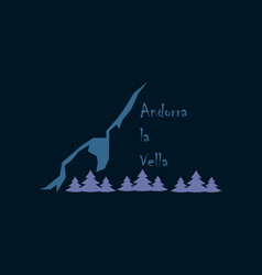 flat icons on theme of andorra logo mountains and vector image