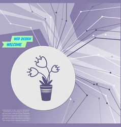 flower icon on purple abstract modern background vector image