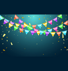 garland flag and confetti in party and enjoyment vector image
