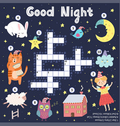 Good night crossword game for kids sweet dreams vector