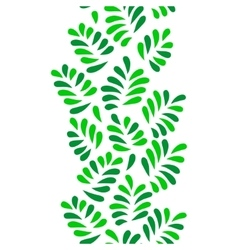 Green leaves seamless vertical border on white vector
