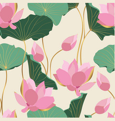 Green pink abstract golden lotus flowers leaves vector