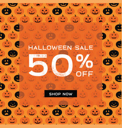 halloween scary pumpkins pattern sale poster vector image