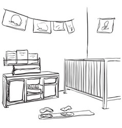 Hand drawn children room baby bed sketch vector