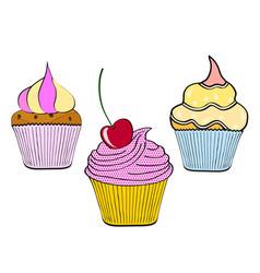 hand drawn cupcake on white background pop art vector image