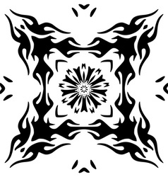 Hand drawn monochromatic floral ornament isolated vector image vector image