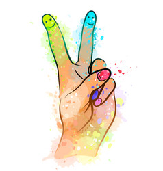 hand folded in victory symbol with multi-color vector image