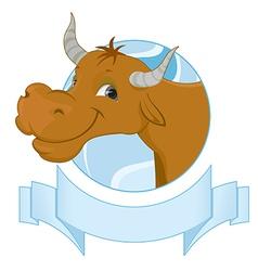 Happy cow character vector image
