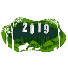 happy new year 2019 with cute family pig vector image