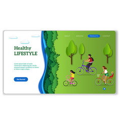 healthy lifestyle page active diverse happy vector image