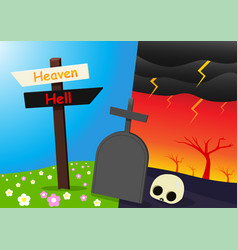 Heaven and hell background with tombstone vector