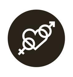 heterosexual gender symbol in heart block style vector image