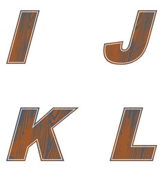 i j k l letters of brown color design of old wood vector image