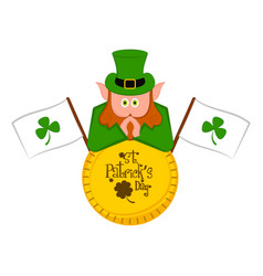 irish elf with a saint patricks day labels vector image