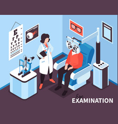 Isometric ophthalmologist office composition vector