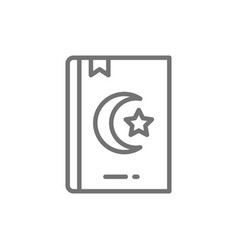 koran quran holy book for muslims line icon vector image