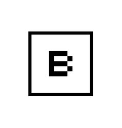 letter b icon with square outline logo design vector image