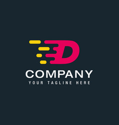 letter d with fast logo speed moving and quick vector image