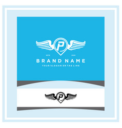 Letter p pin map wing logo design concept vector