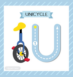 Letter u uppercase tracing unicycle vector