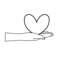 Line cute hand with nice heart over vector