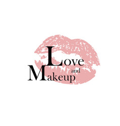 love and makeup fashion inscription and vector image