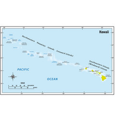 map hawaii archipelago usa vector image