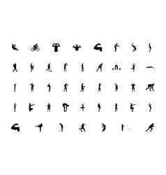 Men silhouette sport concept black color set vector