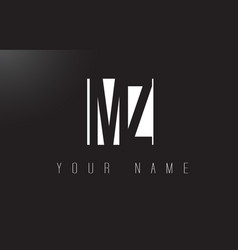 Mz letter logo with black and white negative vector