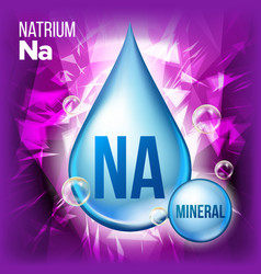 na natrium mineral blue drop icon vitamin vector image
