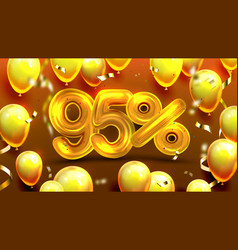 ninety five percent or 95 benefit offer vector image