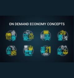 On demand economy neon light concept icons set vector