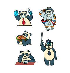 Panda different characters taikonaut police doctor vector