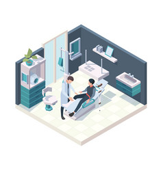 Patient in hospital emergency first injury room vector