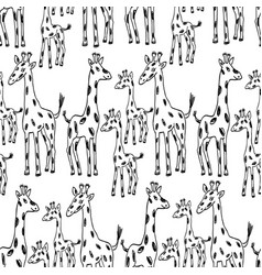 pattern of the cartoon giraffes vector image