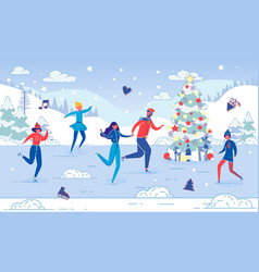 people enjoy winter outdoor activity on ice rink vector image