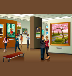 People visiting an art gallery vector