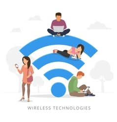 People with gadgets using wi-fi outdoors vector image