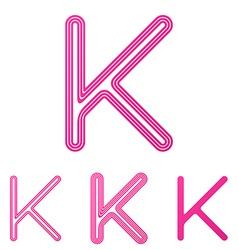 Pink line k logo design set vector image