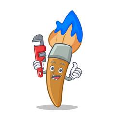 Plumber paint brush character cartoon vector