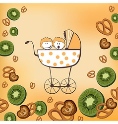 pram and kiwi fruits vector image